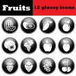 Set of fruit glossy icons — Stock Vector #78078716
