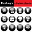 Set of ecological glossy icons — Stock Vector #78078770
