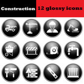 Set of construction glossy icons — Stock Vector