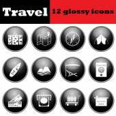 Set of travel glossy icons — Stock Vector