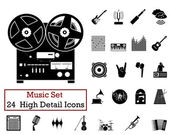 24 Music Icons — Stock Vector