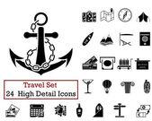 24 iconos de viaje — Vector de stock