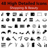 Shopping and Beauty Smooth Icons — Stock Vector