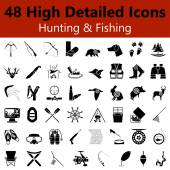 Hunting and Fishing Smooth Icons — Stock Vector