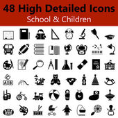 School and Children Smooth Icons — Stock Vector