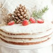 Series of winter xmas coconut cake. Decorate with strawberry, coconut and forest cone — Stock Photo #56831771