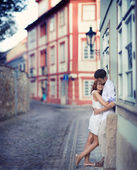 Couple in Prague, Czech Republic, Europe. Happy young couple walking outside in old town. — Stock Photo