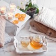 Tea-tray with hot grass drink, knitting clothes, dry oranges, ca — Stock Photo #63184907