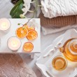 Tea-tray with hot grass drink, knitting clothes, dry oranges, ca — Stock Photo #63184919