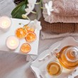 Tea-tray with hot grass drink, knitting clothes, dry oranges, ca — Stock Photo #63184921