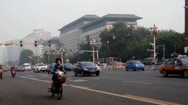 The transportation of Changan Avenue near Wangfujing Walking street in Beijing, China — Stock Video