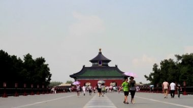 Outside view of Qinian Gate,Temple of Heaven, Beijing, China — ストックビデオ