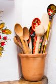 Wooden painted spoons — Stock Photo