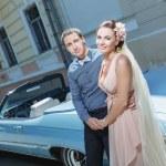 Newlyweds embracing — Stock Photo #69558475