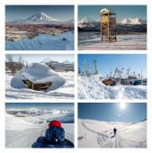 Kamchatka Peninsula collage. Far East, Russia — Stock Photo