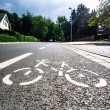 Bicycle road sign on asphalt — Stock Photo #53800295