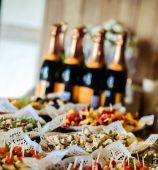 Table with appetizers for guests reception — Stock Photo