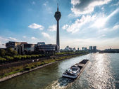 View of Rhine Tower and Media Harbor. Dusseldorf, Germany — Stock Photo