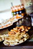 Trays with various appetizers close-up — Stockfoto