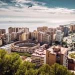 Aerial view of Malaga bullring and harbor. Spain — Stock Photo #57645233