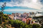 Picturesque view of Malaga bullring (La Malagueta) and seaport. — Stock Photo
