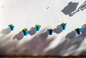 Blue flower pots on a whitewashed wall in Mijas — Stock Photo