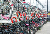 Bicycle parking in Eindhoven Central Station — Stock Photo
