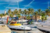 Moored boats in the Fuengirola seaport. Malaga, Spain — Stock Photo