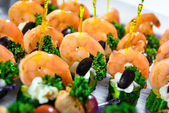 Delicious seafood canapes — Stock Photo
