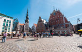 Riga, Latvia- August 20, 2015: Day view of the Town Hall Square — Stock Photo