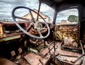 Inside of old and rusty truck cab — Stock Photo