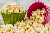 Pile of Popcorn in Colorful Bowls — Stock Photo