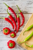 Red Hot Peppers and Green Peppers — Stock Photo