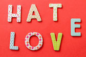 Colorful Text, Hate and Love — Stock Photo