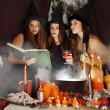 Постер, плакат: Witches look into the book