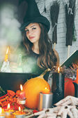 Witch near the boiler — Stock Photo