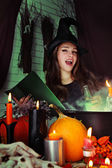 Witch brews a potion — Stock Photo