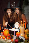 Two beautiful witches — Stock Photo