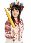 Ukrainian woman threatens rolling pin — Stock fotografie