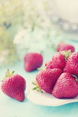 Fresh strawberries, tinted — Stock Photo