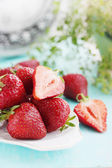 Strawberries on a plate, still life — Stock Photo