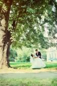 Newlyweds dancing, tinted — Stock Photo