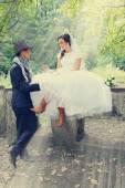 Bride flirting, tinted — Stock Photo