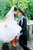 Cowboy wedding, tinted — Stock Photo