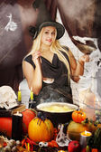 Witch with a ladle — Stock Photo