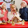 Three kids in caps decorated — Stock Photo #60925635