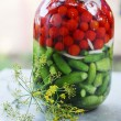 Canned tomatoes and cucumbers  — Stock Photo #60934909