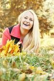 Happy blond girl , tinted — Foto de Stock