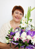 woman holding a ikebana — Stock Photo