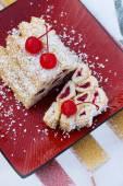 "Cake ""Monastic hut"" with a cherry — Stock Photo"